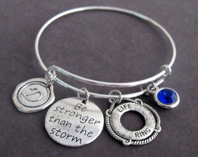 Be Stronger Than the Storm Bracelet, Life Ring Charm,Courageous & Break Up gift, Life Ring Jewelry,Refuse to sink ,strong,Free Shipping USA