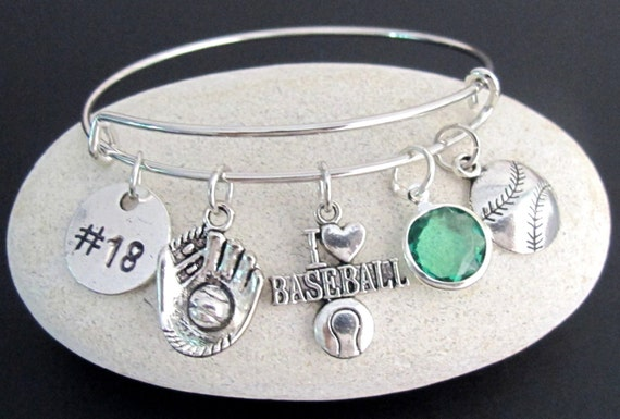 Baseball Bangle,Baseball Charm Bracelet, Softball charm barcelet,Baseball Glove Bracelet,I love Birthstone Charm Bracelet,Free Shipping USA