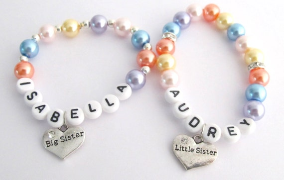 Little Girls Name Bracelet  Big Sister Little Sister Pearl Bracelet Flower Girl Personalized Bracelet Free shipping In USA
