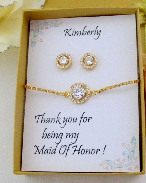 Cubic Zirconia Gold Bridal Bracelet,Custom Color CZ earrings and Bracelet set,Bridesmaid earrings,Bridesmaid necklace sets,Free Shipping USA