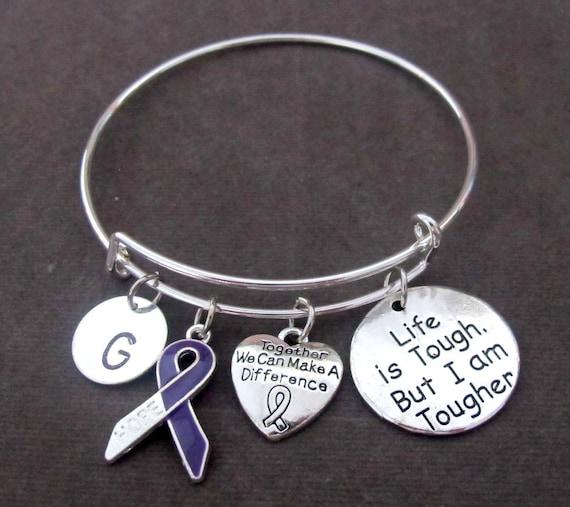 Purple Ribbon Charm Bracelet,Pancreatic Cancer,ADD,ADHD, Lymphoma,Alzheimer's Disease, Lupus,Cystic Fibrosis, Fibromyalgia,Free Shipping USA