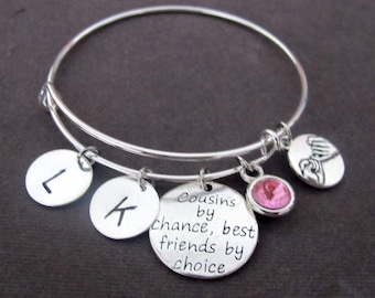 Cousin Gift, Cousins by Chance Best Friends by Chance, Cousin Bangle, Cousin Jewelry, Cousin Bracelet,Gift for Cousins, Free Shipping In USA