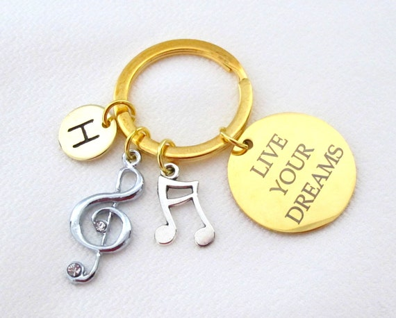 Personalized Musician Keychain,Musician's gift,Music Graduation gift, Music graduate,Musical note charms,Live your dream,Free Shipping USA