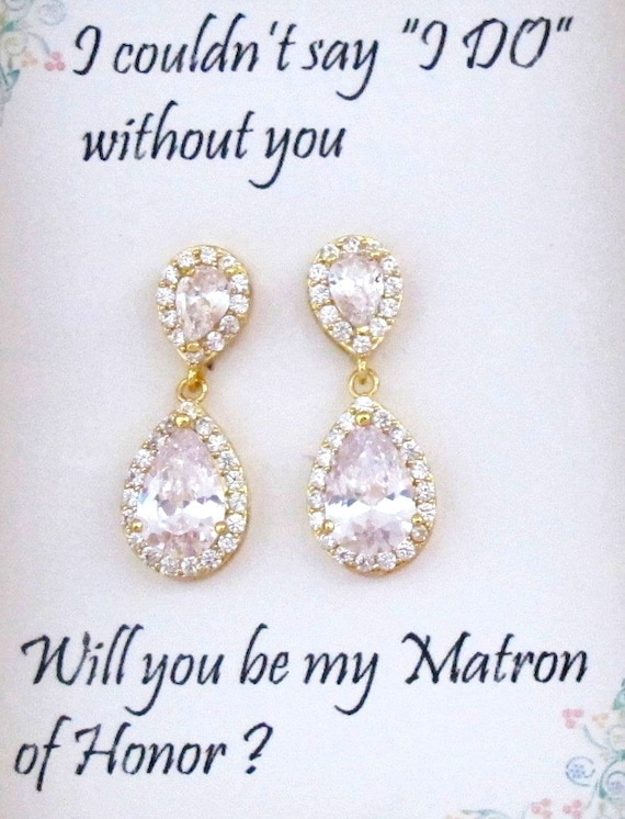Tear drop CZ bridesmaid Gold earrings,Bridesmaids Earring, Bridal Earrings,Matron of honor gift, Cubic Zirconia Earrings, Free Shipping USA