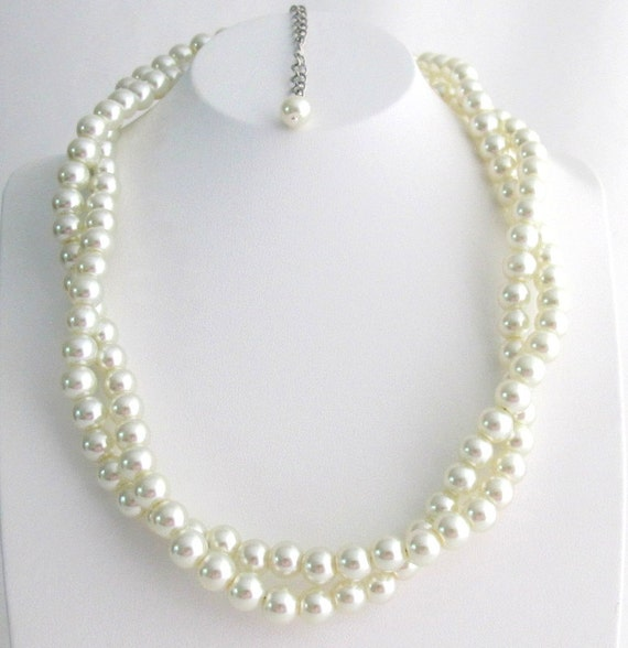 Ivory Pearl Necklace Twisted Pearl Necklace Double Strand Necklace Bridesmaid, Flower Girl, Bridal Necklace Free Shipping In USA