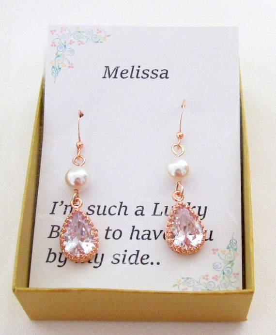 Bridesmaid Earrings,Cubic Zirconia Water drop and pearl Earrings, Rose Gold Teardrop Pendant Necklace Set,Bridesmaid Gift, Free Shipping USA