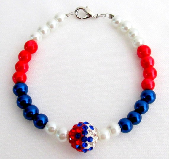 Red White Blue Pearls USA Beaded Bracelet With Cute Pave Ball Celebrate Independence Day Free Shipping In USA