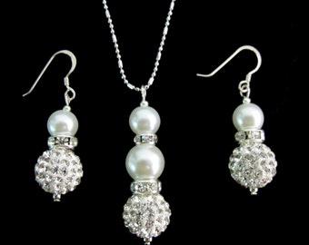 Ivory Bridesmaid Jewelry Set, Cream Pearl Necklace & Earrings Set,Bridal Set, Rhinestone Bridesmaid Jewelry,wedding gift Free Shipping USA,