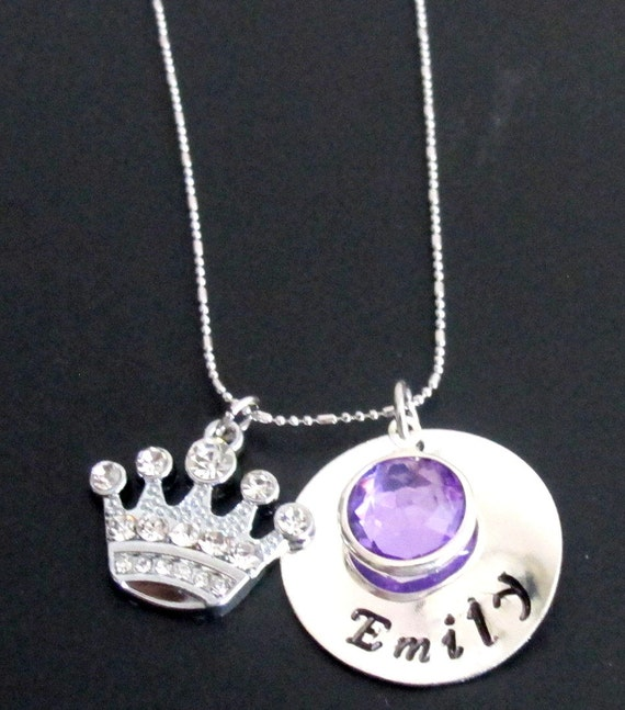 Princess Necklace Princess Crown Necklace Princess Name Necklace Little Girl Necklace,Young Girls Jewelry,Free Shipping IN USA