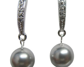 Custom bridesmaid earrings, Personalized bridesmaid earrings, Wedding Earrings Grey Pearl Earrings Wedding Earrings Grey Pearl Post earrings