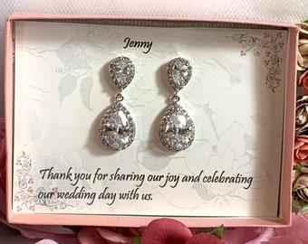 Custom Color TearDrop Earrings, Bridesmaid Jewelry, Bridesmaid CZ earrings, Wedding CZ Earrings, Cubic Zirconia Teardrop Bridal Earrings