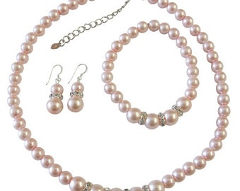 Pink Pearls Jewelry Set Bridal Bridemaids Pink Pearls Necklace Earrings Stretchable Bracelet Free Shipping In USA