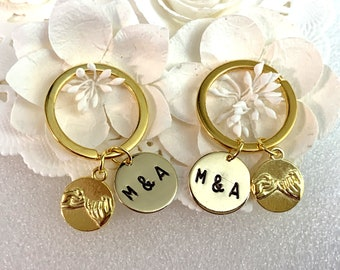 Pinky Swear 2 Keychains, Gold, Double Pinky Promise Key Chains, Best friend gift, Two Secret Friends Swear gift, Pinky promise keychain