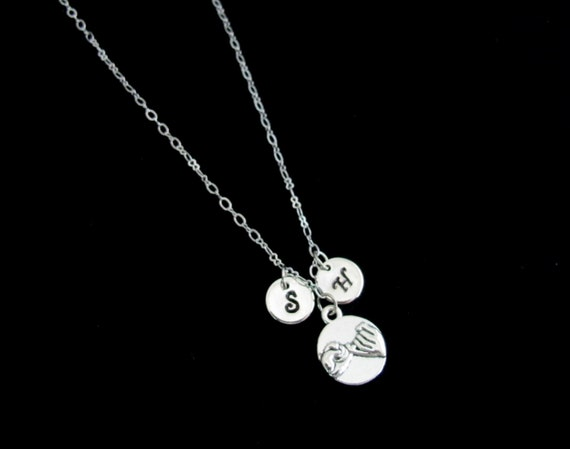 Best Friend's Necklace W/Two Initials & Pinky Promise,Bff Necklace Jewelry,Boyfriend/Girlfriend,Couples Necklace gift, Free Shipping In USA