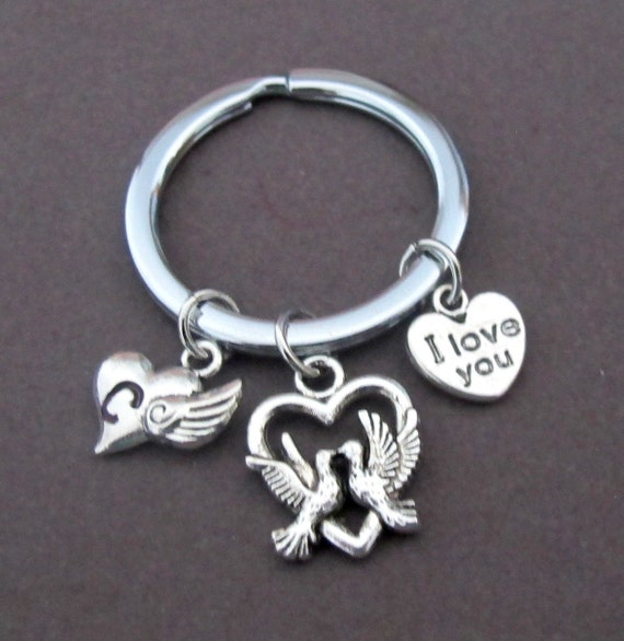 I Love You  keychain,Love Buddies  Keyring,Valentines Day Gift,Couple key Chain,I Love You Heart Key Ring, Personalized, Free Shipping USA