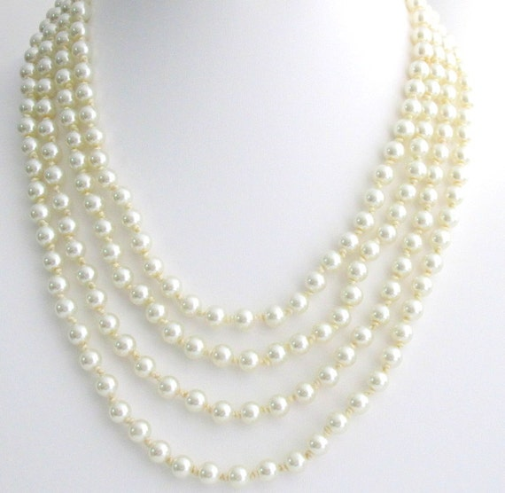 Long Pearl Necklace hand knotted pearl Necklace,100 inches pearl Necklace Statement Necklace Pearl Statement Necklace Free Shipping USA