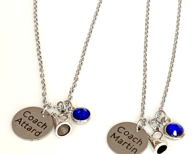 Personalized Cheerleader Coach Necklace - Cheer Team Necklaces - Hand stamped Initial Necklace - Initial Cheer Squad Necklaces