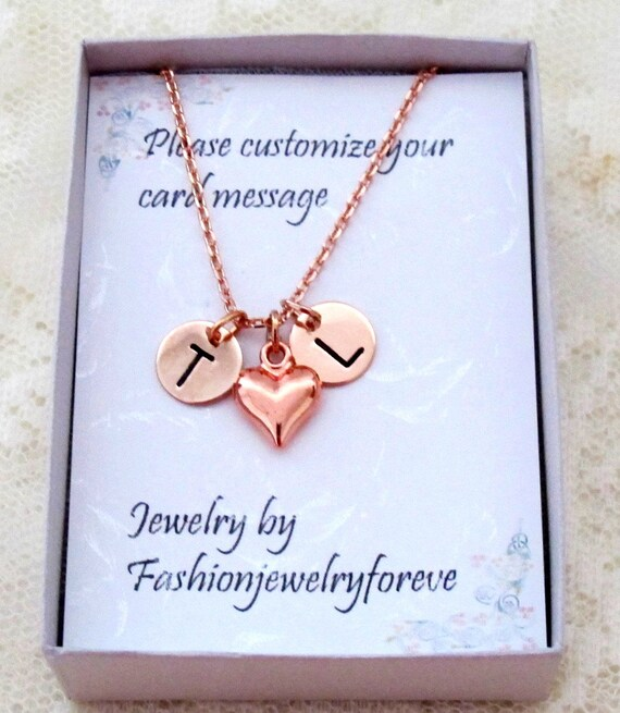 Personalized Heart Necklace,Rose gold Heart Necklace,Rose Gold Initial &Heart Necklace,Initial Jewelry,Silver Heart Necklace,Girlfriend Gift