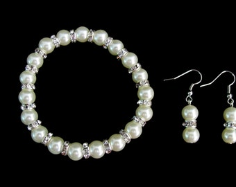 Ivory Pearl Stretchable Bracelet Earrings, Rhinestones Pearl Bracelet, Wedding Pearl Bracelet Bridesmaid Pearl Jewelry Free shippin In USA
