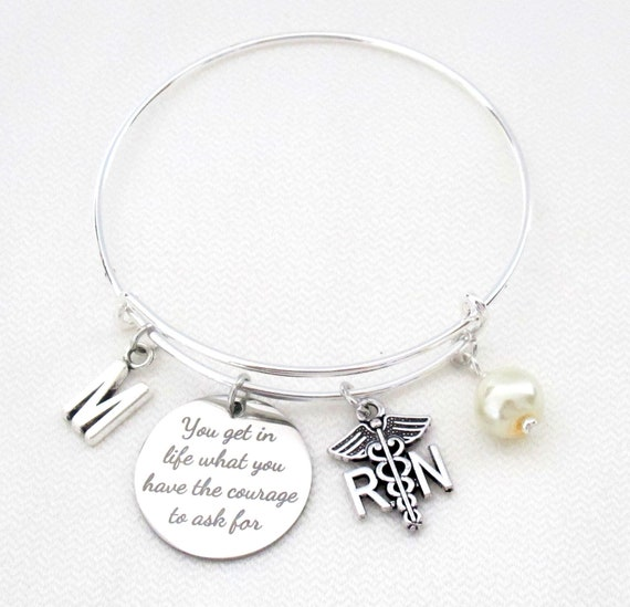 RN Graduation Bracelet,Registered Nurse Bangle,Personalized Nurse Graduation Gift, Oprah Winfrey Quote, lpn,rdh,bsn,dh,rnp,Free Shipping USA