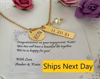 Hand Stamped Date Necklace,Anniversary gift for Wife,Gift for her,Girlfriend gift,Engagement gift, Wedding gift for Bride, Free Shipping USA