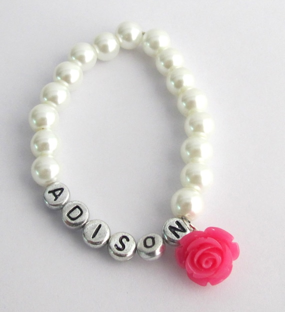 Flower Girl Name Bracelet,Fuchsia Rose Flower,Personalized Girls Jewelry,Kids Pearl Bracelet, Flower Girl Gift Jewelry, Free Shipping In USA