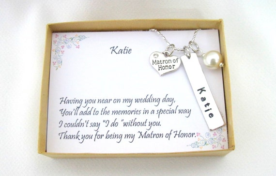 Maid of Honor gift, Maid of Honor necklace, Matron of Honor, Bridesmaid thank you, Wedding gift ideas, Personalized Mid of Honor Necklace,
