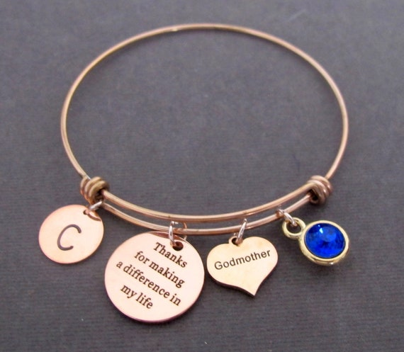 Best Godmother Personalized bracelet, Godparent Gift,Godmother gift,Godmother unique gift Personalized Aunt gold bangle,Free shipping USA