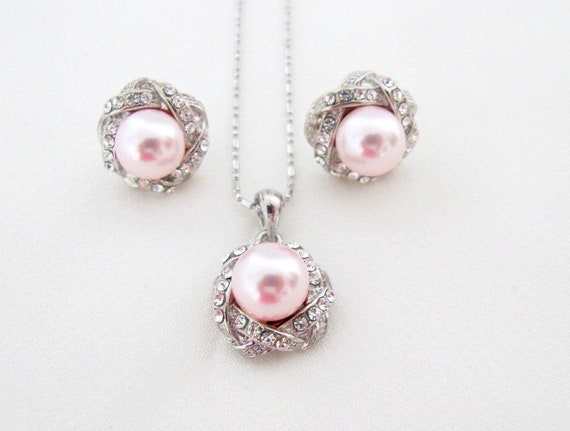 Pearl wedding set - pearl bridal jewelry - necklace and earrings, Pink Pearl Pendant earrings Bridesmaid Rosaline Pink set,Free Shipping USA