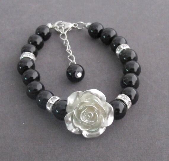 Flower Girl  Bracelet,Silver Rose Flower, Black Pearls Bracelet,Flower Girl Gift,Gifts from Bride,Children Wedding Jewelry,Free Shipping USA