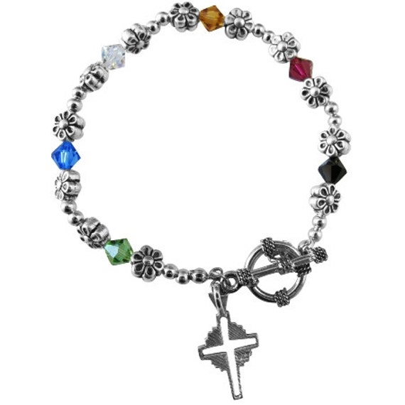 Sterling Silver Cross Salvation Bracelet Swarovski Crystals Free Shipping In USA