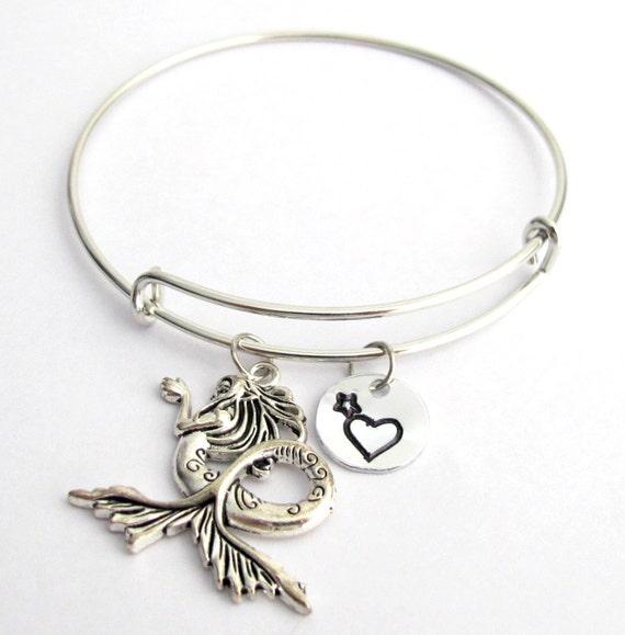 Mermaid Bangle Monogram, Initial bracelet Adjustable Expandable Mermaid Charm Bracelet, Mermaid Pendant Star Heart Stamp Free Shipping USA