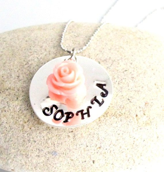 Flower Girl Necklace with Flower Girls Handstamped Personalized Name Necklace Hand Stamped  Necklace Flower Free Shipping In USA