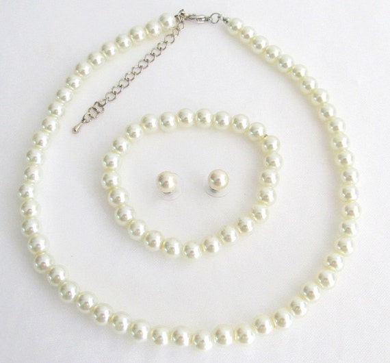 Ivory Pearl Necklace set, ivory pearl necklace, Wedding Jewelry Set Bridal Jewelry Set,Bridesmaid Set Flower Girl  Free Shipping US