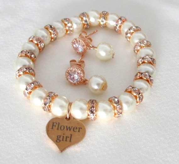 Rose gold  Bracelet Set, Flower girl gift Jewelry, Junior bridesmaid gift, Wedding Jewelry, Rhinestone, Pearl Bracelet, Wedding Party gifts