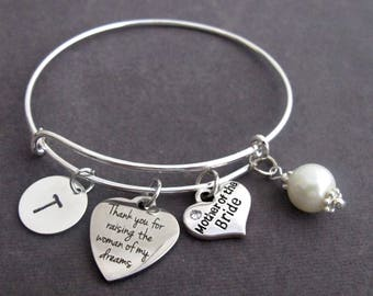 Thank You For Raising the Woman of My Dreams, Mother of Bride Gift, Mother In Law gift Bangle, Mother of Bride jewelry, Free Shipping In USA