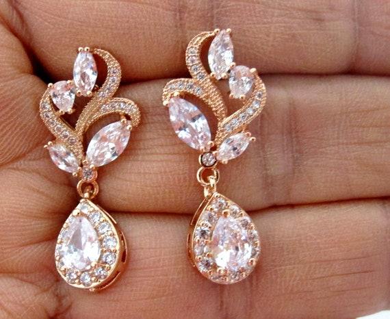 Rose gold wedding earrings, Rose gold bridal earrings, Crystal drop earrings, Bridal Earrings, bridesmaid earrings, Prom earrings CZ jewelry
