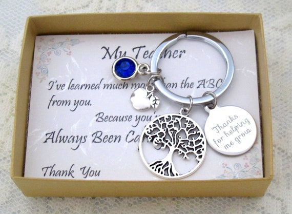 Teacher Appreciation Gift,Thank You For Helping Me Grow Personalized Teacher Keychain,Nanny Gift,Preschool Teacher,Babysitter Gift, KeyChain