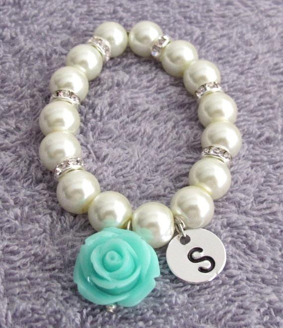 Personalized Flower Girl Bracelet, Mint Green Rose Flower Bracelet, Flower Girl Gift, White Pearls Children's Bracelet, Free Shipping In USA
