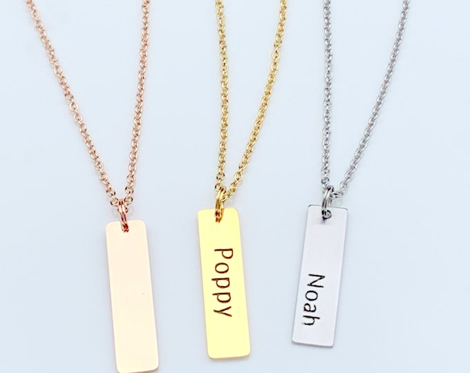 Personalize Customized Necklace Bar Pendant, Mother's Day Mommy Necklace, Baby Kids Name Vertical Bar,Personalized Engraved Bar Grandma Mama