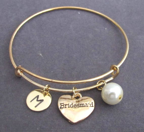 Bridesmaid Gold Bangle Bracelet,Personalized Bridesmaid Jewelry,Wedding Jewelry,Maid of Honor gift,Matron of honor gift,Free Shipping In USA