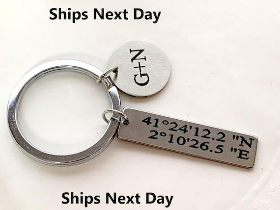 Coordinate keychain, GPS, Latitude, Longitude, graduation, Personalized Coordinates Keychain ,special location, trip key chain - anniversary