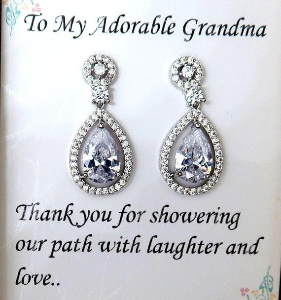 Teardrop Cubic Zirconia Wedding Earrings, Bridesmaid Earrings, Bridal Party Jewelry, Bridal Earrings, Maid of honor gift, Wedding Jewelry