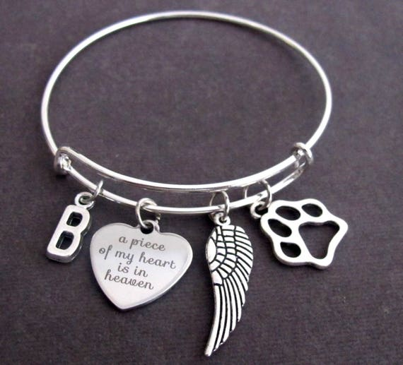Personalized Pet Memorial Bangle,Pet Remembrance Bracelet,A Piece of my Heart is in Heaven,Pet Bereavement,Sympathy Gift,Free Shipping USA