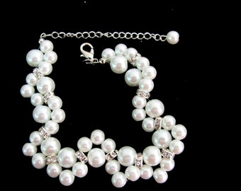 Ivory pearl Bracelet, White Pearl Bracelet, Glass Pearl Bracelet, Wedding Bracelet,Bridesmaid Bracelet,Jewelry Free Shipping In USA