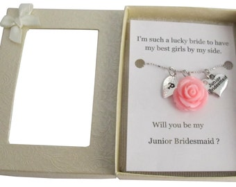 Personalized Junior Bridesmaid Necklace, Jr Bridesmaid Gift Junior Bridesmaid Necklace, Flower Girl Gift, Bridesmaid Gift, Wedding Jewelry