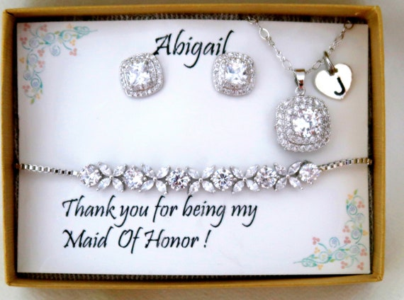 Personalized Wedding Jewelry Set, Bridesmaid gift Set, CZ Bridal Earrings Necklace Bracelet Set, Cubic Zirconia, Ear Studs, Bridal Jewelry