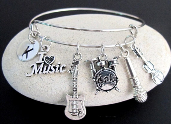 Muscian Gift Music Bangle,Music Bracelet,Musician bangle,Guitar Bracelet,Microphone Bracelet,Violin Bangle,Drum Bracelet Free Shipping USA