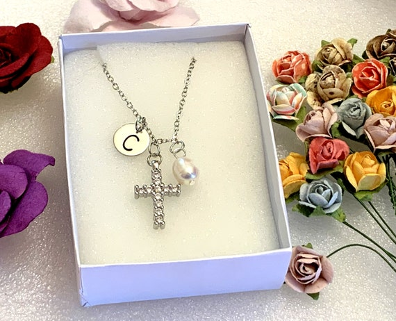 Easter Gift Cross Necklace Baptism Gift • First Communion Necklace, Initial Girl Cross Neclace Christian Necklace Little Girls Baptism
