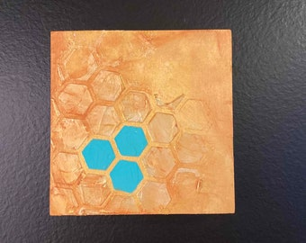 4x4 Abstract Gold I Original Abstract Painting I Art For Sale Cincinnati, OH I Acrylic Art for sale by fine artist Wendy Owens